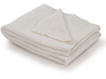 Couverture tricotée Coton 130 x 171 cm Blanc cassé - vidaXL