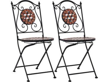 Chaises de bistrot mosaïque 2 pcs Marron Céramique - vidaXL