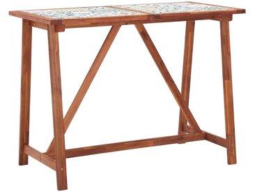 Table de bar de jardin 140x70x105 cm Bois d'acacia et carreaux - vidaXL