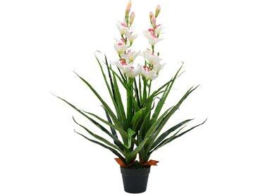 Plante artificielle Orchidée Cymbidium avec pot 100 cm Vert - vidaXL