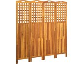 Cloison de séparation 4 panneaux 161x2x170 cm Bois d'acacia - vidaXL