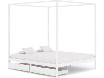 Cadre de lit à baldaquin avec 2 tiroirs Blanc Pin 160x200 cm - vidaXL