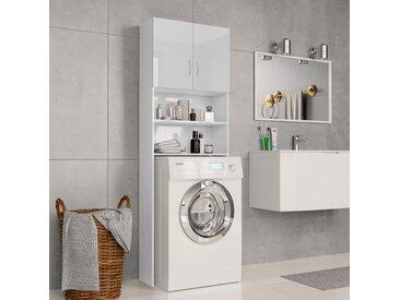 Meuble de machine à laver Blanc brillant 64x25,5x190 cm  - vidaXL