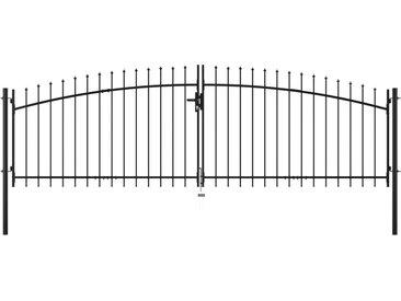 Double portail avec haut sous forme de lance 400 x 150 cm - vidaXL