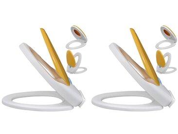Sièges de toilette et couvercles 2 pcs Plastique Blanc et jaune - vidaXL