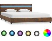 Cadre de lit avec LED Marron Tissu 120 x 200 cm - vidaXL
