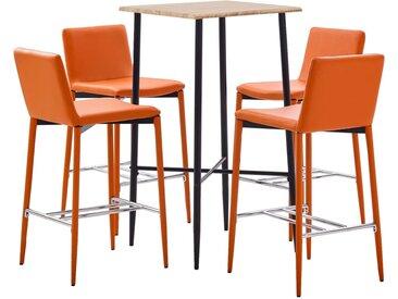 Ensemble de bar 5 pcs Similicuir Orange - vidaXL