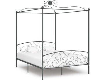 Cadre de lit à baldaquin Gris Métal 180 x 200 cm - vidaXL