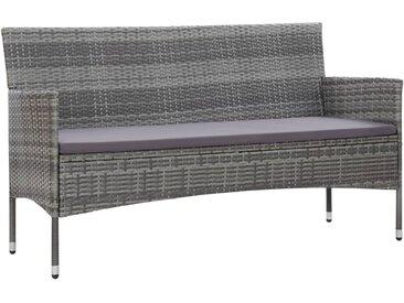 Canapé de jardin à 3 places avec coussins Gris Résine tressée - vidaXL