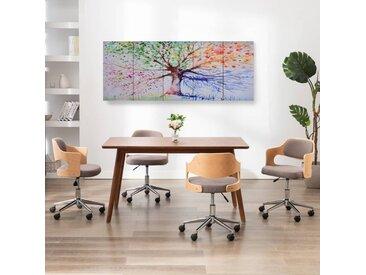Ensemble de tableau sur toile Arbre Multicolore 200x80 cm - vidaXL