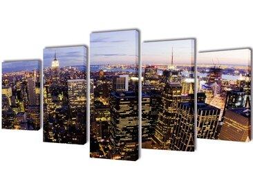 Set de toiles murales imprimées Horizon de New York vu du ciel - vidaXL