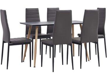 Ensemble de salle à manger 7 pcs Similicuir Gris - vidaXL