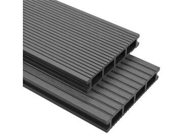 Panneaux de terrasse WPC avec accessoires 20 m² 4 m Gris   - vidaXL