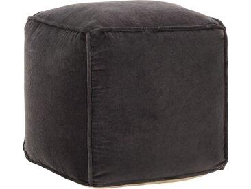 Pouf Velours de coton 40 x 40 x 40 cm Anthracite   - vidaXL