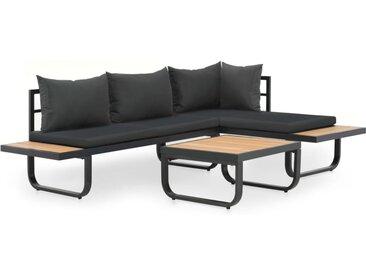 Canapé d'angle de jardin à 2 places avec coussins Aluminium WPC - vidaXL