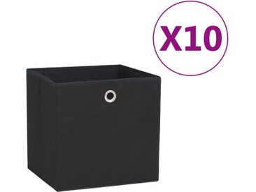 Boîtes de rangement 10 pcs Tissu intissé 28x28x28 cm Noir - vidaXL