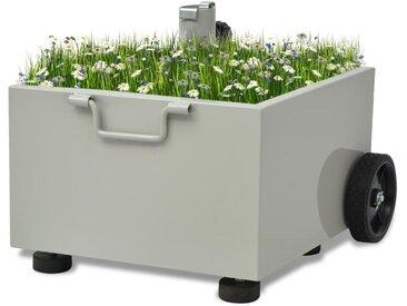 Pot de plantes et support de parasol d'extérieur 2-en-1 Gris - vidaXL