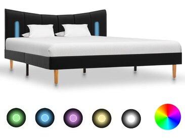 Cadre de lit avec LED Noir Similicuir 140 x 200 cm - vidaXL