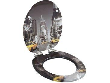 Siège WC MDF Couvercle à fermeture en douceur Design New York - vidaXL