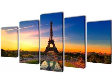 Set de toiles murales imprimées Tour Eiffel 200 x 100 cm - vidaXL