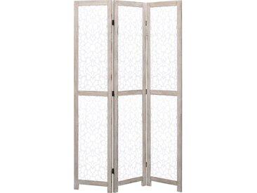 Cloison de séparation 3 panneaux Blanc 105x165 cm Bois solide - vidaXL