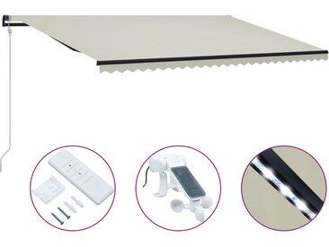 Auvent rétractable et capteur de vent et LED 600x300 cm Crème - vidaXL