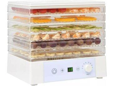 Déshydrateur alimentaire avec 6 plateaux 250 W Blanc - vidaXL