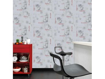 Rouleaux de papier peint Non tissé 4 pcs Blanc 0,53x10 m Café - vidaXL