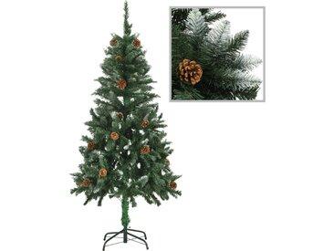 Sapin de Noël avec pommes de pin et paillettes blanches 150 cm  - vidaXL