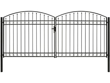 Portillon double porte avec dessus arqué Acier 400x200 cm Noir - vidaXL