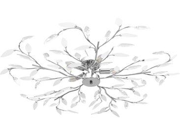 Plafonnier à bras feuille en cristal acrylique 5 ampoules E14 - vidaXL