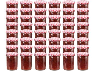 48 pcs Pots à confiture Couvercle blanc et rouge Verre 400 ml - vidaXL