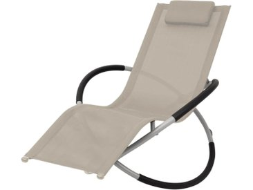 Chaise longue géométrique d'extérieur Acier Crème - vidaXL