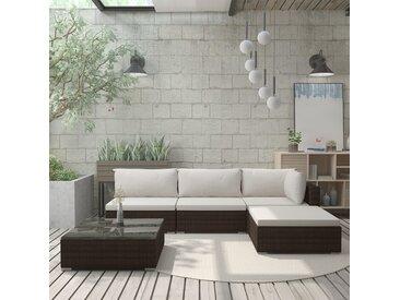 Salon de jardin 5 pcs avec coussins Résine tressée Marron - vidaXL