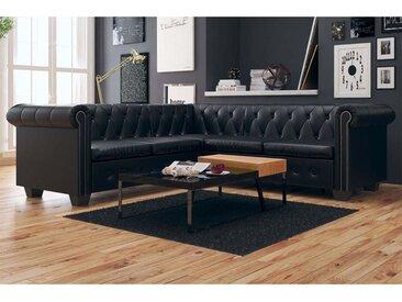 Canapé d'angle Chesterfield 5 places Cuir synthétique Noir  - vidaXL