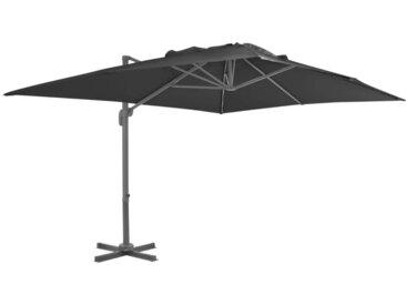 Parasol déporté avec mât en aluminium 4x3 m Noir - vidaXL