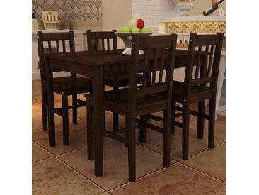 Table de salle à manger avec 4 chaises Marron - vidaXL