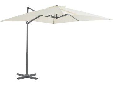Parasol en porte-à-faux et poteau en aluminium 250x250 cm Sable - vidaXL