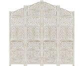 Cloison de séparation 4 panneaux Blanc 160x165 cm Bois manguier - vidaXL