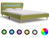 Cadre de lit avec LED Vert Tissu 140 x 200 cm - vidaXL