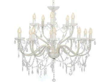 Lustre 2 couches Blanc 15 ampoules E14  - vidaXL