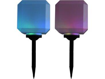 Lampe solaire cubique à LED d'extérieur 2 pcs 20 cm RVB - vidaXL