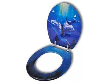 Siège de toilette MDF Couvercle à fermeture dure Dauphins - vidaXL