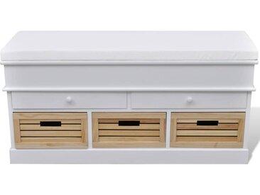 Banc d'entrée et de rangement avec coussin 2 tiroirs Blanc - vidaXL