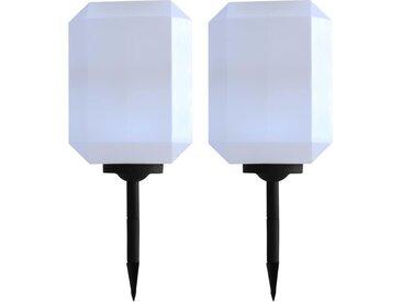 Lampe solaire à LED d'extérieur 2 pcs 30 cm Blanc - vidaXL