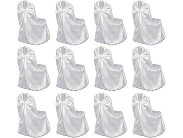Housses de chaise pour banquet de mariage 12 pcs Blanc - vidaXL