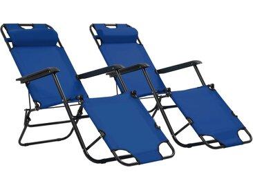 Chaises longues pliables 2 pcs avec repose-pied Acier Bleu - vidaXL