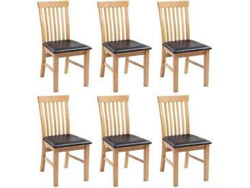 Chaises à dîner 6 pcs Bois de chêne massif et similicuir - vidaXL