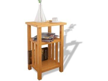Table d'appoint avec étagère à revues Chêne massif 27x35x55 cm - vidaXL