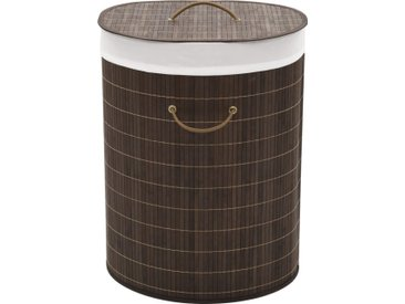 Panier à linge ovale Bambou Marron foncé - vidaXL